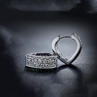 Nice Gold Color Heart CZ Cubic Zircon Fashion Jewelry Hoop Earrings For Women Love Jewelry Gift 210507