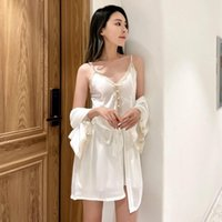 Women's Sleepwear Women Rayon 2pcs Lace Floral Bride Robe Sets Sexy V-neck Nightgown Kimono Bathrobe Gown Casual Homewear Nightwear