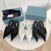 Оригинальные модели P-DA Luxury Designer Brand Запрашиваемые сандалии 2021 Новейшие модные Женские Натуральная Кожа Неглубокий рот Высокие каблуки Сандальные Платье Обувь
