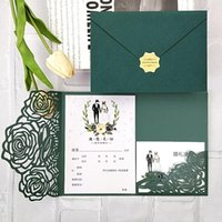 Greeting Cards 50pcs Dark Green Navy Blue Pink Laser Cut Floral Pocket Customized Party Wedding Invitations With Small Card