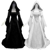 Casual Kleider Frauen Vintage mittelalterliche heidnische Hochzeit Kapuzenkleid Romantische Fantasiekleid Bodenlangen Renaissance Cosplay Retro Witch 9.27