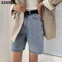 Jeans da donna EZSSKJ 2021 Summer High Waist Shorts Mezzi pantaloni Black Denim a cinque punti
