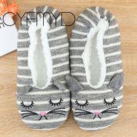 2021 New Winter Socks Slippers Women Cute Animal Warm Slippers Cartoon Non-Slip Cotton Slippers Bedroom Couples Floor