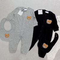 Designer children Romper 2pcs Sets Newborn kids baby Boys Girls saliva towel Toddler Cotton Short Sleeve Jumpsuits Infant Onesies Rompers + Bib Kid hat Clothes