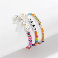 Yamog Imitation Pearl Splicing Beaded Strands Bracelets Women Soft Pottery Acrylic Baby Letter Hand Jewelry Sets European Female Multi Layer Mixed Color Chains