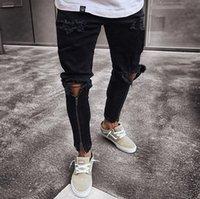 Jeans da uomo Jeans Slim-fit con cerniera strappata Pantaloni stretti per le gambe strette pantaloni alla moda Denim aderente