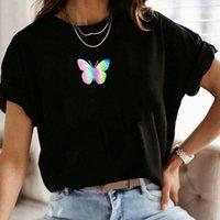 المتناثرة فراشة Koraen نمط تي شيرت المرأة الرسم البياني الأزياء الزى 90s الصيف عارضة تي شيرت الشارع الشهير أعلى قمزة أنثى الملابس I0Q6 #