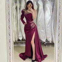 2021 Newest Prom Dresses African Saudi Arabia Long Sleeves Women Formal Dress Mermaid High Split Celebrity Robe De Soiree Evening Wear