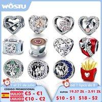 Wostu 100% 925 Sterling Silver Cœur Infinity Love Love Charm Fit Bracelet Original Pendentif Pendentif pour bijoux MakingG8TM