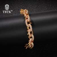 TBTK New 2020 Iced Out 13mm Spikes Rivet Cone Stud Bracelet Men Gold Hiphop Jewelry Punk Western Style Trendy