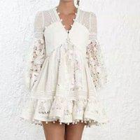QLZW 2020 여름 새로운 패션 V 넥 레이스 메쉬 섹시한 중공 흰색 드레스 유행 조수 긴 섹션 여성 의류 BE582
