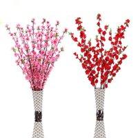 웨딩 파티 장식을위한 인공 체리 봄 매화 복숭아 복숭아 벚꽃 가지 실크 꽃 나무 100pcs / lot 장식 꽃 꽃 화환