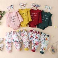 Euro فتاة أمريكية مجموعة ملابس طويلة الأكمام إلكتروني طباعة رومبير + السراويل الزهور + عقال الخريف القطن ناعم الاطفال الملابس ثلاثة قطعة مجموعات 3-24months