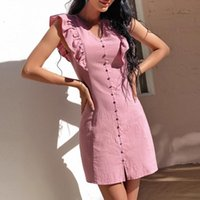 Casual Dresses Solid Color Summer Dress Women Sexy V Neck Sleeveless Mini For Loose Tight Waist A Line Beach Vestidos Femme