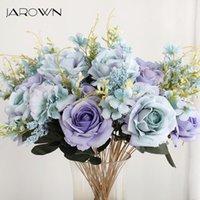Flores decorativas grinaldas jarrown 50cm rose hortênsia buquê de seda artificial 13 cabeças noiva casamento diy arranjo de flores decor fak