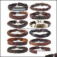 Cuff Bracelets Jewelryretro Genuine Punk Retro Mens Cowe Simple Mti-Layer Woven Diy Suit Leather Bracelet Drop Delivery 2021 L9C6P