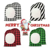NEW!!! Sublimation Blank Drawstring Bag DIY Christmas Eve Day Party Gift Bags Stripe Plaid Double Sided Printing Linen Packing Storages Hand Tote Ornaments