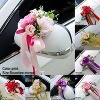 Hochzeitsauto Dekoration Blume Türgriffe Rückspiegel Dekorieren Künstliche L23 Dekorative Blumen Kränze