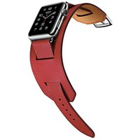 Genuine leather Cuff Bracelet strap for apple watch 44mm 40mm 38mm 42mm Smart Straps Fit iwatch band Seires 7 6 SE 5 4 3 2 Wrist watchband metal classic buckle