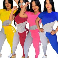 Women Tracksuits summer fall clothing running fitness joggers sweatsuit pullover pants sportswear t-shirt crew neck leggings outfits short sleeve bodysuits 01278