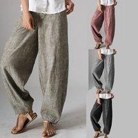 Women's Pants & Capris Womens Casual Style Pure Color High Waist Wide Leg Cotton For Women