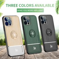 Bionic Wood Grain Phone Cases for iPhone 11 12 Pro Max 12Mini Magnetic Car Ring Holder Thin Camera All-Inclusive Protective Back Cover