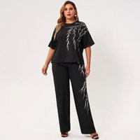Womens Plus Size Pant Two Piece Pants Summer Suits Black White Bamboo Leaves Embroidery O-neck Short Sleeve Loose T-shirt Casual Trouser