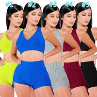 2021 Summe Designer Women Sports Tracksuits Sexy Two Pieces Yoga Outfits Sleeveless Sportswear Jogger Suits Vest Shorts Sweatsuit S-XL