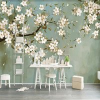 Wallpapers European Style Hand Painted Pastoral Orchid 3D Wall Mural Wallpaper Living Room TV Sofa Study Background Papers Home Decor