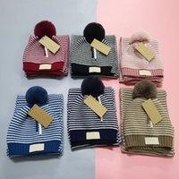 Designer Kid Gestrickte Beanie Hüte Schals Sets Winter Luxus Baby Schal Cap Klassische Kinder Hutschals Größe 125 * 19cm