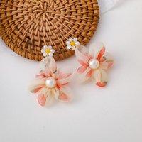 DANNGLE lustre Sweet Girl Tempéramament Aesthétique Cristal Pearl Organza Flower Boucles d'oreilles coréen Accessoires Femmes Bijoux