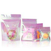 Storage Bags 100Pcs lot Clear Plastic Rainbow Laser Heat Sealing Tear Notch Package Bag Reusable Zipper Candy Bean