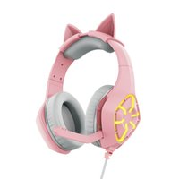 Gamer Headphones For GS1000 Pink Cat Ear Cute Girl Gaming Headset with Microphone Wired Eearphones