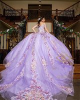 Lilac lavender Quinceanera Dresses 3D Floral Applique Beaded Off the Shoulder 2022 Sweep Train Tulle Satin Custom Made Sweet 15 16 Prom Princess Ball Gown vestidos
