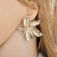우아한 골드 로즈 골드 빅 플라워 여성 패션 과장된 금속 꽃 문 귀걸이 473 B3