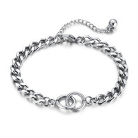 Charm Bracelets Ring Linked Bracelet In Stainless Steel, Circle Link Chain Bracelet, Women's Jewelry 18cm Length +5cm Extension