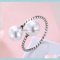 Band 925 Стерлинговое серебро Регулируемое жемчужное кольцо для женщин УДЕТ