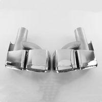 1 paire de tuyau d'échappement AMG pour B-ENZ S63 W221 Acier inoxydable ACCESSOIRES DE Voiture Y / H MODÈLE SQUARE / Ovale Boutières Boucles d'échappement