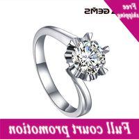 Attagens Sólidas 925 Sterling Silver Women Diamantes 1.0ct Def Color VV Moissanite Diamond Solitaire Anéis de noivado