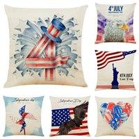 Decoración para el hogar Cojín de fiesta Independencia Día de la independencia Funda de almohada Sofá Cubiertas de almohada Cubiertas de lino de algodón decorativo