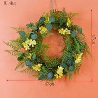 Colors European Style Artificial Wreath Imitation Fern Leaf Rose Door For Ring Home El Wedding Decoration Window Decorative Flowers & Wreath