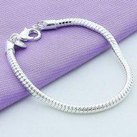 925 Fecho de lagosta de prata esterlina 4mm 20 cm Cadeia de cobra pulseira apto Europeu encanto mulheres casamento jóias de noivado 1286 T2