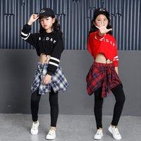 Childrens Sports Suits Cotton Clothing Korean Fashion Hip Hop Streetwear Teenage Girls Hoodies Sweatshirt Plaid Skirt Pants