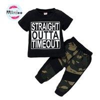 Mikrdoo Kids Modyler Baby Boy Летняя одежда набор с короткими рукавами буквы печати футболка Top + камуфляж бьют 2шт наряд