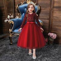 2022 paillettes Fleur Filles 'Robes Fête Red Party Enfants Robe de soirée Jewel Col Col Princesse Pageant Robes de bal