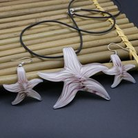 Verão Estrela Starfish Lampwork Set Murano Glass Necklace Brincos Jóias Jogos 6 Conjuntos / Lote Lampwork Colar Brinco