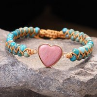 Natural Stone Heart Bracelets Women Leather Wrap Stones Tiger Eye Beads Rope Weaving Statement Drop Bracelet Men Gifts Beaded, Strands