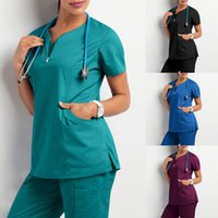 Women's T-Shirt Clothes For Women 2021 Short Sleeve V-Neck Pocket Care Workers Tops Summer Uniformes De Enfermera Mujer