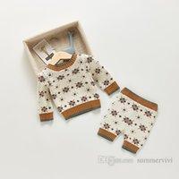 Mnapst Boys Boys Diamond решетка вязаная одежда наборы одежды малыша дети с длинным рукавом свитер пуловер + мягкие брюки 2 шт. Осенние детские девушки повседневные наряды Q1370