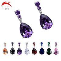 1 Paar Modeschmuck Damen Valentinstag Geschenk Silber Big Stone Drop Diamanten Schöne Kristall Zirkon Ohrringe